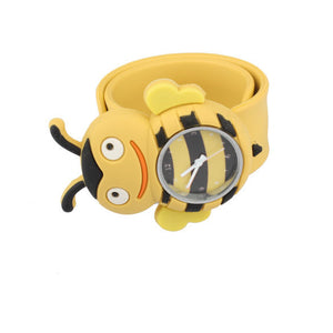 Chirldren Watch Digital Slap Watch Cute Bee Slap Watches for Kids Yellow Flap ring Watch For Baby girl Boy Gift Toy LL