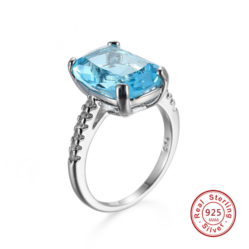 Christmas Gift 925 Starling Silver Rings Charm Jewelry Ring For Ladies With light blue Big Square Cut CZ Hot Sell