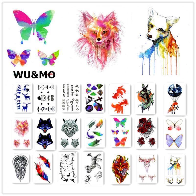 Colorful Flower Animals Dogs Body Art Sexy Harajuku Waterproof Temporary Tattoo For Man Woman Henna Fake Flash Tattoo Stickers