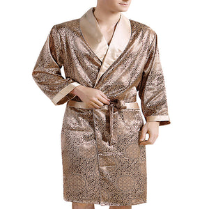 Coromose Pyjamas Mens New Real Men Luxury Bathrobe Geometric Robes V-neck Imitation Silk Knitted Sleepwear Full Sleeve Nightwear