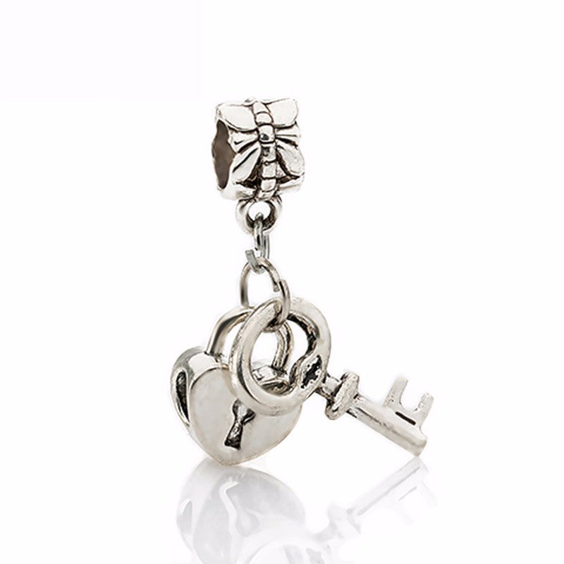 Couqcy Free Shipping 1Pc Silver Bead Charm European Silver with Love Lock key Charm Pendant Bead Fit Pandora Bracelet