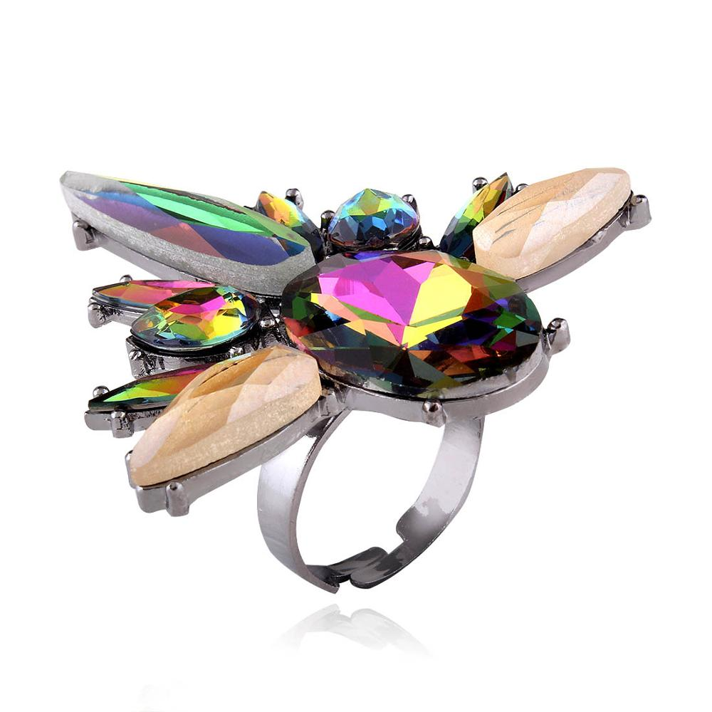 Crazy Feng Bohemian Big CZ Stone Rock Band Rings Statement Jewelry Colorful Waterdrop Steampunk Style Finger Rings For Women