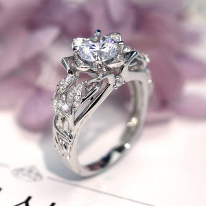 Crazy Feng Silver Color Women Rings Rose Flower Bling Stones Rings for Women's Crystal Plus Size 6 7 8 9 10 Bridal Ring Jewelry