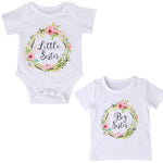 Cute Baby Girls Clothes 2017 Summer Short Sleeve Cotton Little Sister Romper Big Sister T-shirt Outfit Sisters Match Outfits