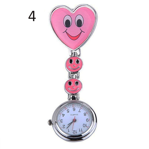 Cute Crystal Smiling Faces Heart Clip-On Pendant Nurse Fob Brooch Pocket Watch Wholesale 6EQX