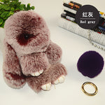 Cute Play Dead Rabbit Fur Hanging Pendant Rabbit Bunny Key-chain Fashion fur pom pom key-chain Rabbit Toy Doll