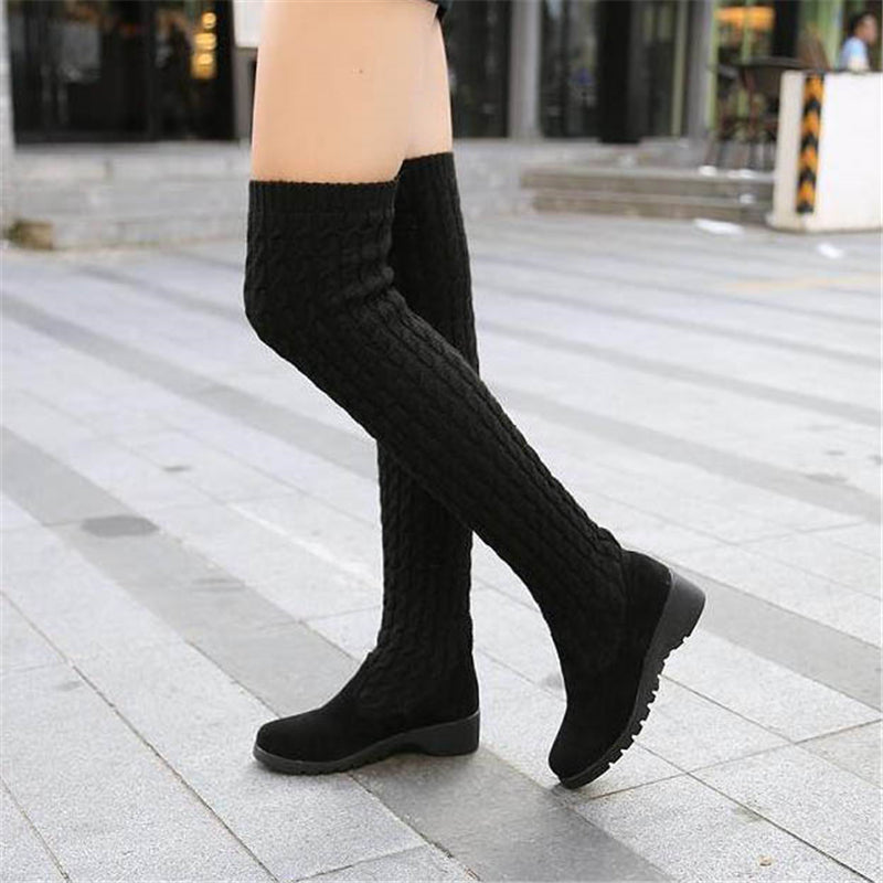 DIJIGIRLS 2018 Fashion Knitted Women Knee High Boots Elastic Slim Autumn Winter Warm Long Thigh High Boots Woman Shoes Size 40