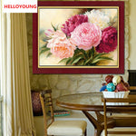 DIY 5D Full Diamonds Embroidery Peony flowers Round Diamond Painting Cross Stitch Kits Diamond Mosaic Home Decoration