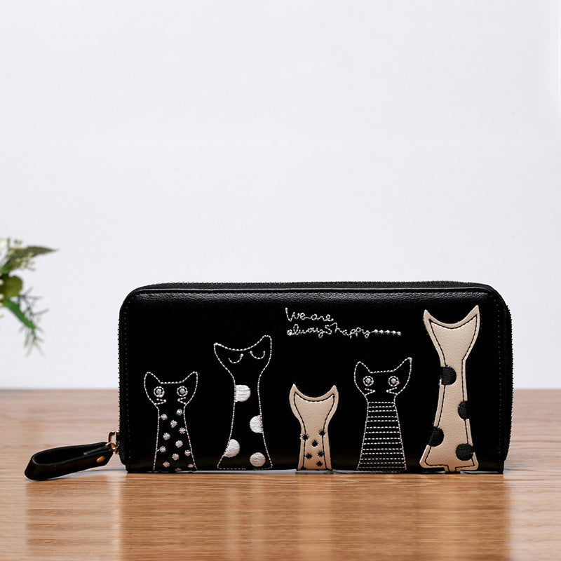 DUDINI Europe Women Cat Cartoon Wallet Long Creative Female Card Holder Casual Zip Ladies Clutch PU Leather Coin Purse ID Holder
