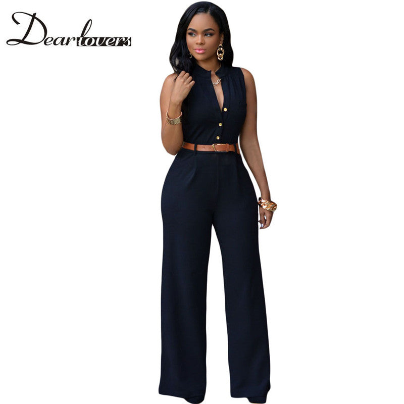 Dear lover 7 Colors Rompers Womens Jumpsuit 2017 Summer Overalls Sleeveless Belted Wide Leg Jumpsuit combinaison femme LC60932