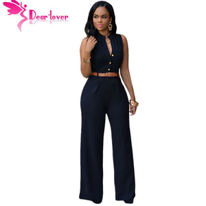DearLover Fashion Big Women Sleeveless Maxi Overalls Belted Wide Leg Jumpsuit 7 Colors S-2XL Plus Size macacao long pant LC60932