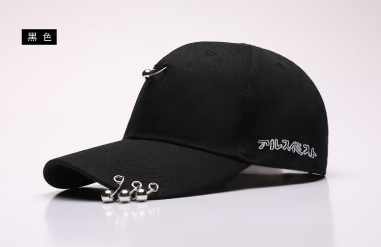 [Dexing] men cap black unisex Ring hats baseball cap men women snapback caps hip hop fashion baseball cap with rings