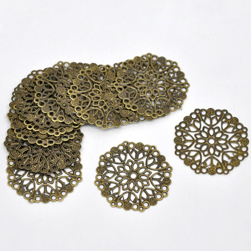 Doreen Box Lovely 50 Bronze Tone Filigree Flower Wraps Connectors For DIY Jewelry Making 35mm (B14745)