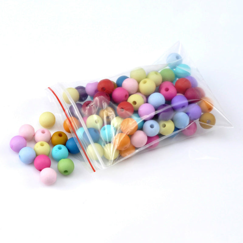 "Doreen Box hot- 300PCs Mixed Color Round Acrylic Spacer Beads For DIY Jewelry Making At Random 8mm(3/8"") Diameter.(B19525)"