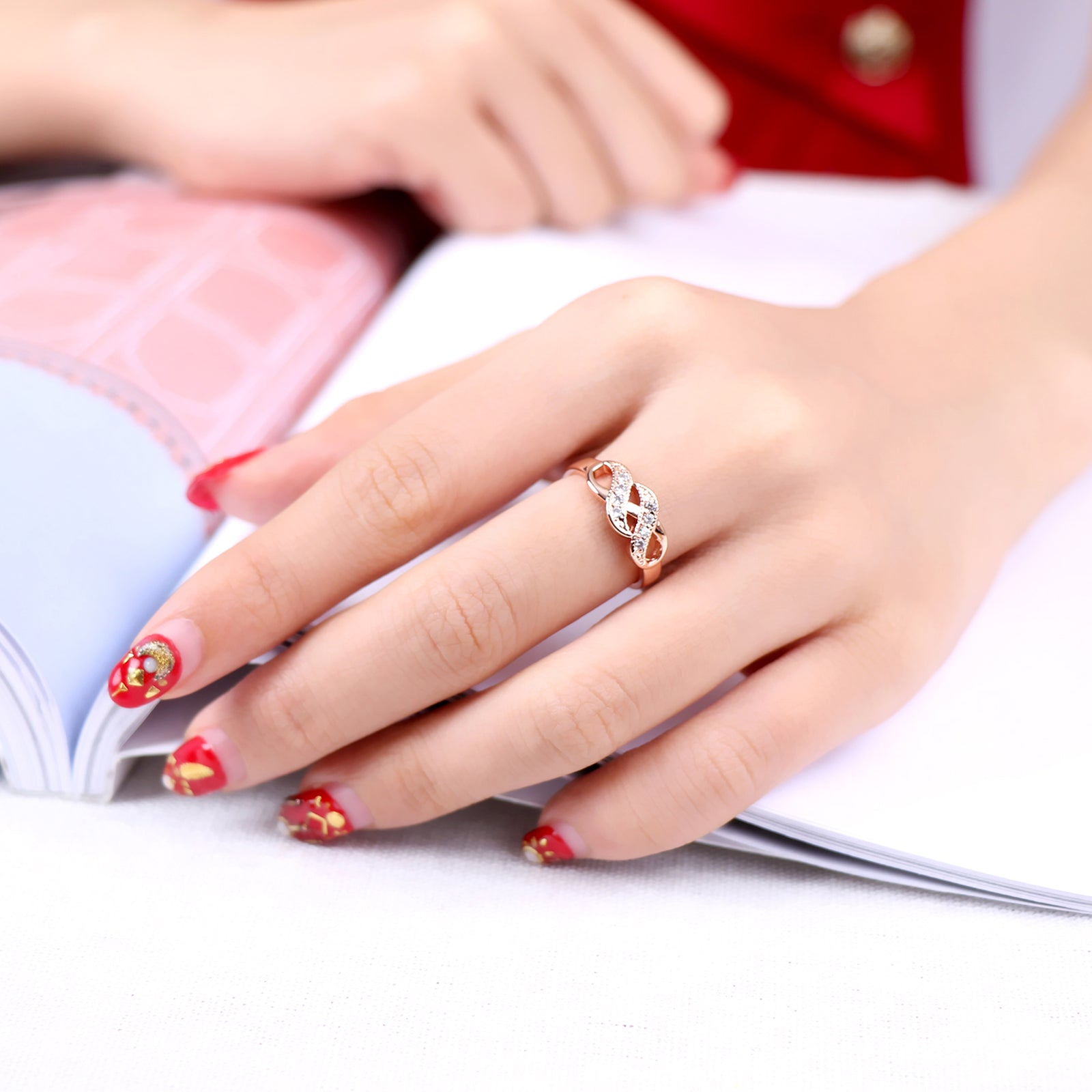 Double Fair Cubic Zirconia Infinity Rings Rose Gold Color Fashion ...
