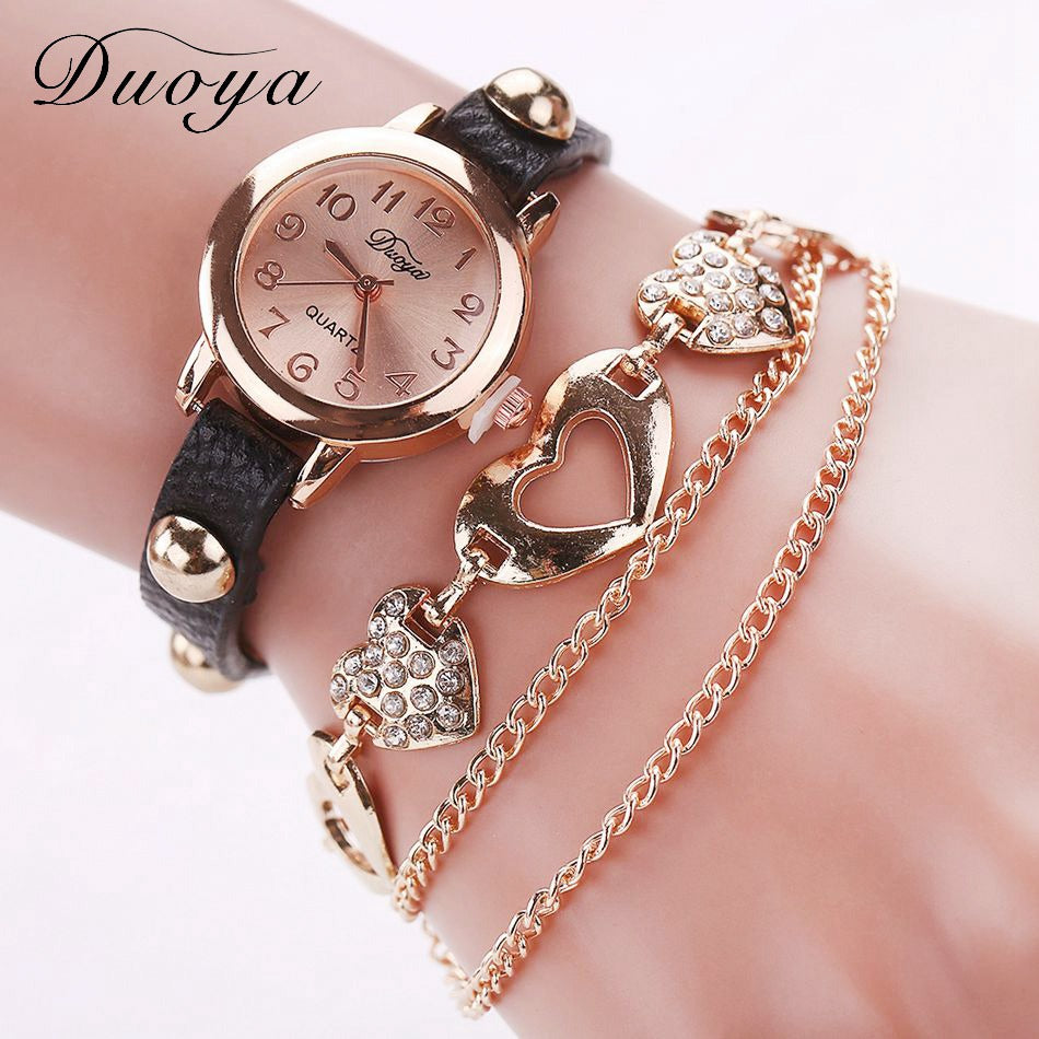 Duoya Brand Fashion Watches Women Luxury Rose Gold Heart Leather Wristwatches Ladies Dress Bracelet Chain Quartz Watch Clock New