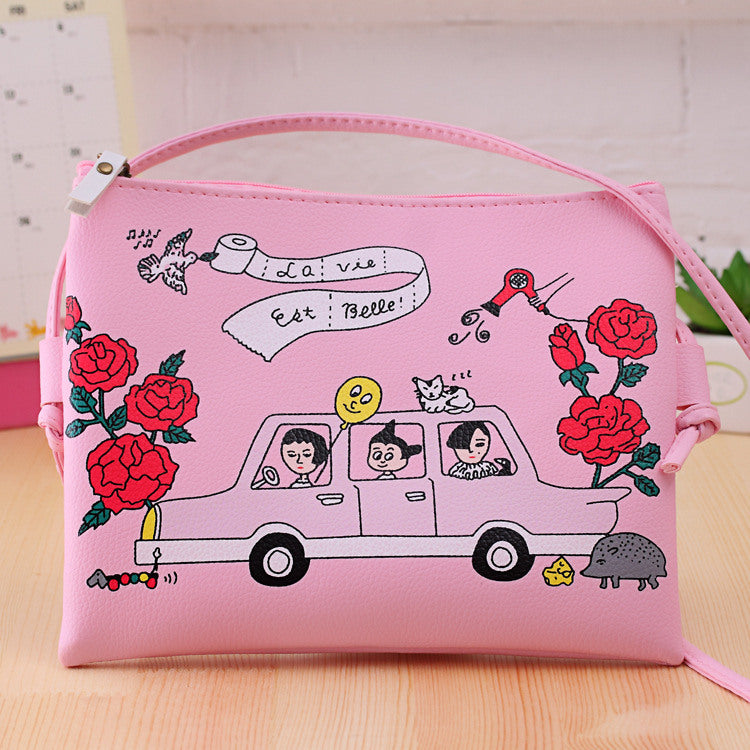 EXCELSIOR Fashion Cartoon Printed Women Graffiti Handbag Mini Crossbody Shoulder Bag Ladies Casual Purses Clutches Girls Handbag