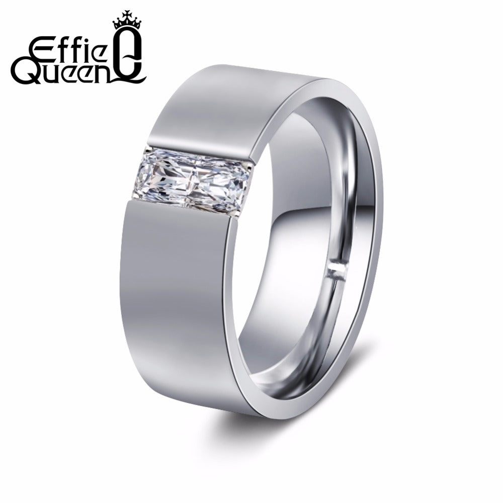 Effie Queen Women's Smooth Silver Color Stainless Steel Ring with AAA CZ High Polished Simple Men's Wedding Jewelry 8mm IR83