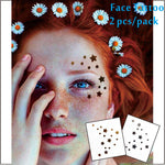 #F01 2 pcs/ Set Face Decor Tattoos, Non-toxic And Waterproof Stars Foiled Temporary Tattoo, Glitter Makeup
