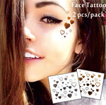 #F02 2 pcs/ Set Face Decor Tattoos, Non-toxic And Waterproof Hearts Foiled Temporary Tattoo in Electric Daisy Carnival