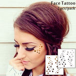 #F08 2 pcs/ Set Face Decor Tattoos, Non-toxic And Waterproof Round Spots Foiled Temporary Tattoo, Glitter Makeup