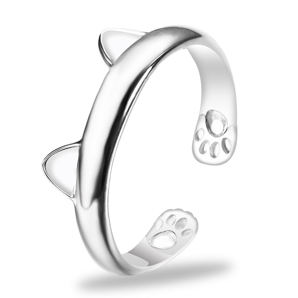 FAMSHIN 1pcs Silver Cat Ear Ring Design Cute Fashion Jewelry Cat Ring For Women and Girl Gifts Adjustable charms