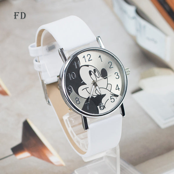 FD Fashion mickey mouse Pattern Women Watch Casual Leather Strap 2017 Hot Clock Girls Kids Quartz Wristwatch relogio feminino