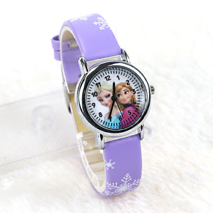 FD Hot Cartoon Princess Elsa Pattern Children Watch Fashion High Quality Leather Strap Wristwatch Casual Girls Boys Kids Clock