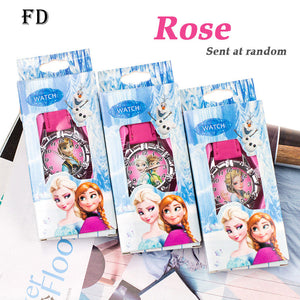FD Hot Cartoon Princess Elsa Pattern Children's Watch with box Girls Quartz Wristwatch Casual Leather Strap Boy Kids Gifts Clock
