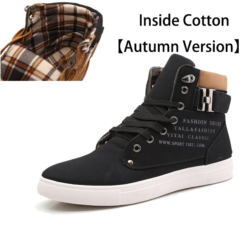 FEVRAL Brand Hot Quality Men Shoes Top Fashion Front Lace-Up Casual Ankle Boots Autumn Waterproof Wedge Warm Leather Men Shoes