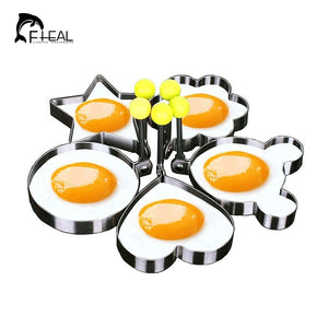 FHEAL 5pcs/set Stainless steel Cute Shaped Fried Egg Mold Pancake Rings Mold Kitchen Tool
