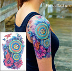 FT01 Flora Temporary Body Tattoo Colorful Mandala Flower Tattoos can be used for Sleeve Tattoo