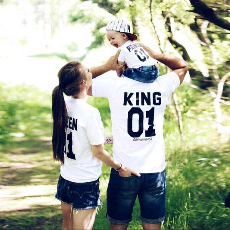 Family Look Short sleeved T-shirt father Son mother and daughter clothes 01 King Queen Princess Prince Family Matching Outfits