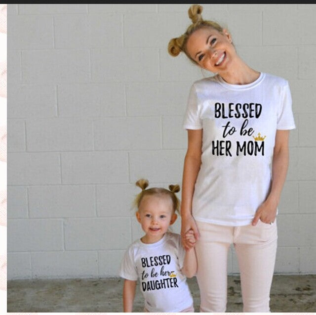 Family matching outfits Mom Mommy and me clothes blessed Letter Short sleeved T-shirt Mother daughter dresses family clothing