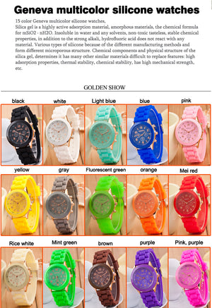 Fashion 16 color quartz women watches Lover's Watch classic style simple casual Silica gel strap wristwatches men women's clock
