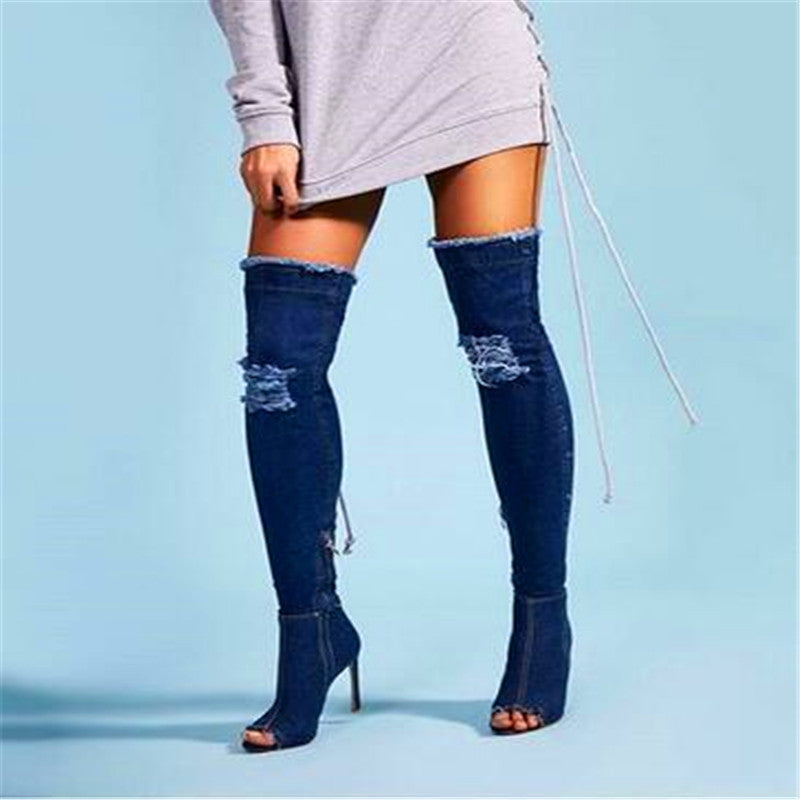 Fashion Blue Denim Long Street Over-the-knee Open Toe Retro Style Stiletto Heel Sexy Jeans Boots 2017 Woman Shoes Free Shipping