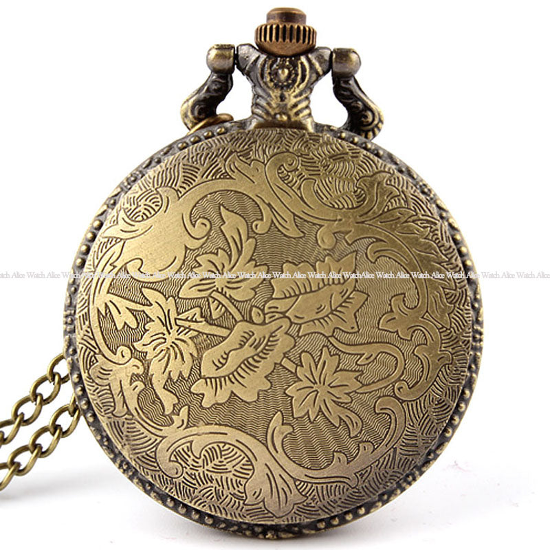 Fashion Bronze Vintage Pocket Watches Necklace chain Pendent Fishing Antique Quartz Pocket FOB Watches Mens relogio de bolso