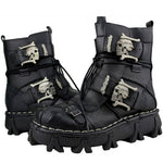 Fashion Cowhide Genuine Leather Military Uniform Boots Gothic Skull Punk Martin Platform Mid-calf Boots Steampunk Shoes