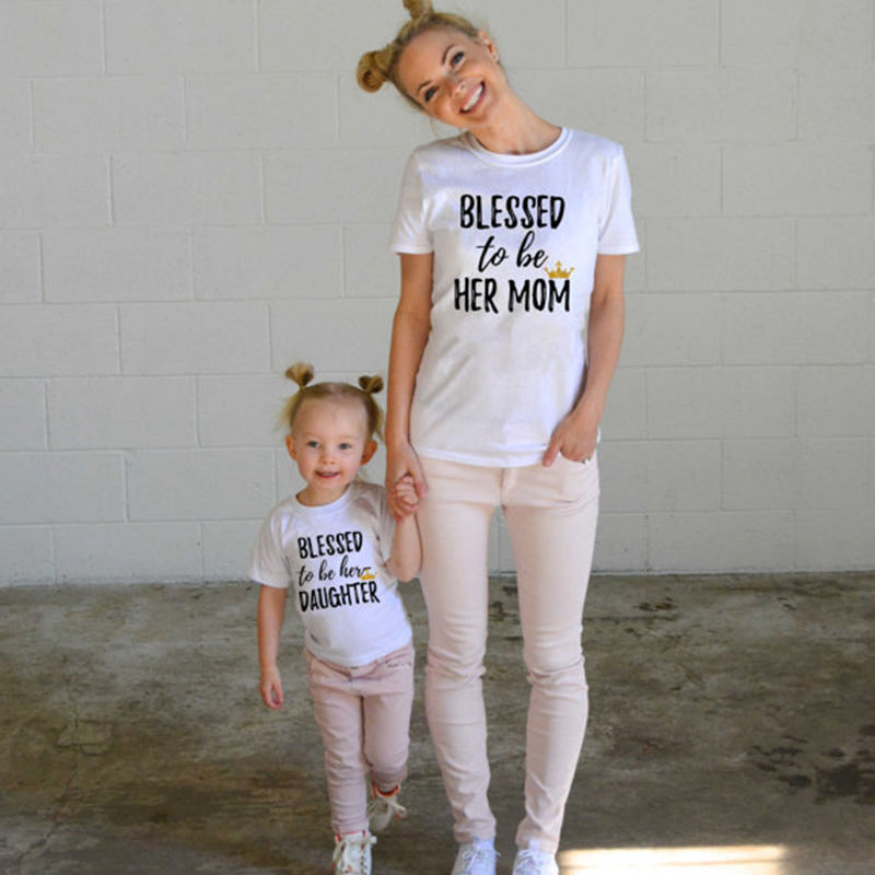 Fashion Family Matching Clothes Mother Daughter Short Sleeve T-shirt Top Woman Kids Casual Family Match Outfit Blusa T-Shirts