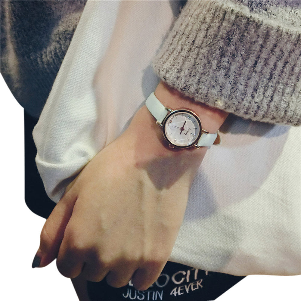 Fashion Leisure Style Women Watch Small Leather Band Table Quartz Watch Female Clock Analog Casual Ladies Girls Wristwatches
