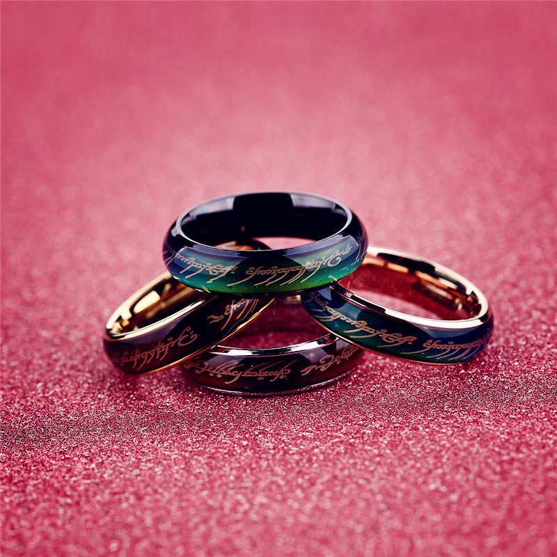 Fashion Men Women Punk Mood Rings Lovers Titanium Steel Colors Change With Emotion Temperature Mood Lord Rings Jewelry