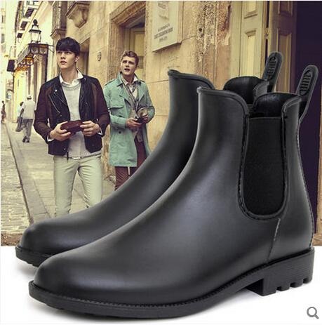 Fashion New Mens Rain Boots Fishing Rain Boots Water Shoes Flats Waterproof Ankle Boots Hightops 2017 Summer Anti Skid bb0446