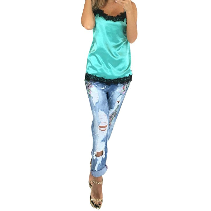 Fashion Sexy Women Camisoles Summer Casual Lace Patchwork Vest Tops Sleeveless Tank Tops T-Shirt