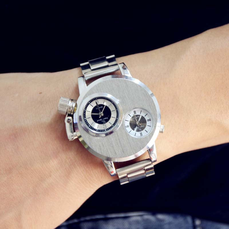 Fashion Silver Business Full Stainless Steel Dual Dials Sport Army Quartz Watch Wristwatch for Men Boy Male High Quality OP001