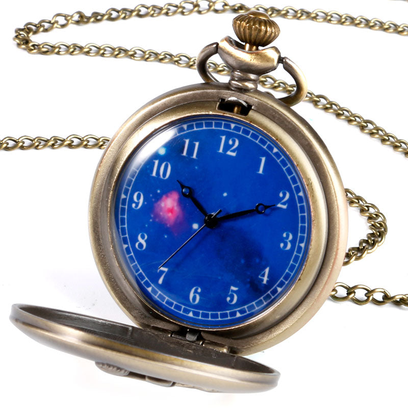 Fashion The Little Prince Quartz Pocket Watch Planet Blue Universe Face Cute Necklace Chain Kids Children Birthday Xmas Gifts