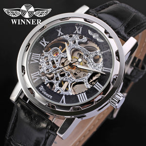 Fashion WINNER Men Luxury Brand Roman Number Hand-wind Leather Watch Automatic Mechanical Wristwatches Gift Box Relogio Releges