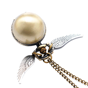Fashion Wings Antique Steampunk Ball Quartz Pocket Watch Men Woman Children Boys Necklace Pendant with Chain Birthday Gifts P514