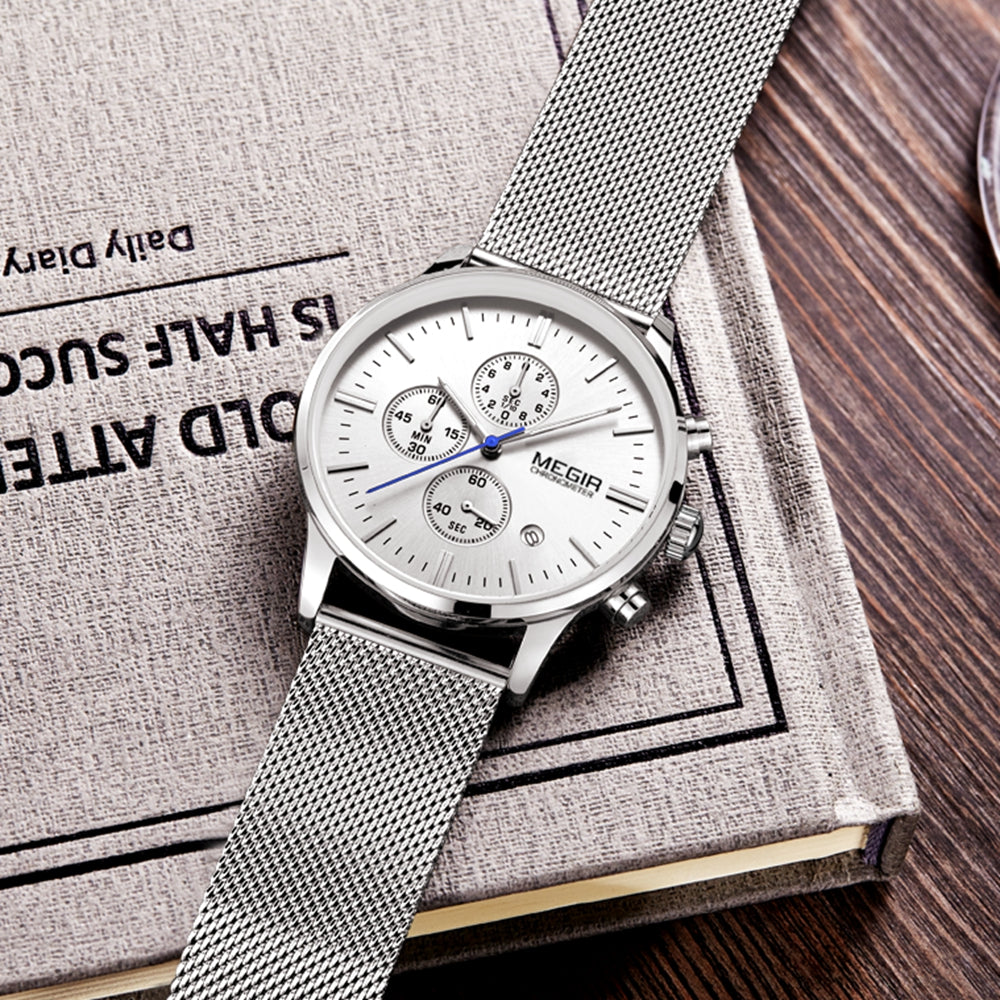 Fashion simple stylish Top Luxury brand MEGIR Watches men Stainless Steel Mesh strap band Quartz-watch thin Dial Clock man 2011