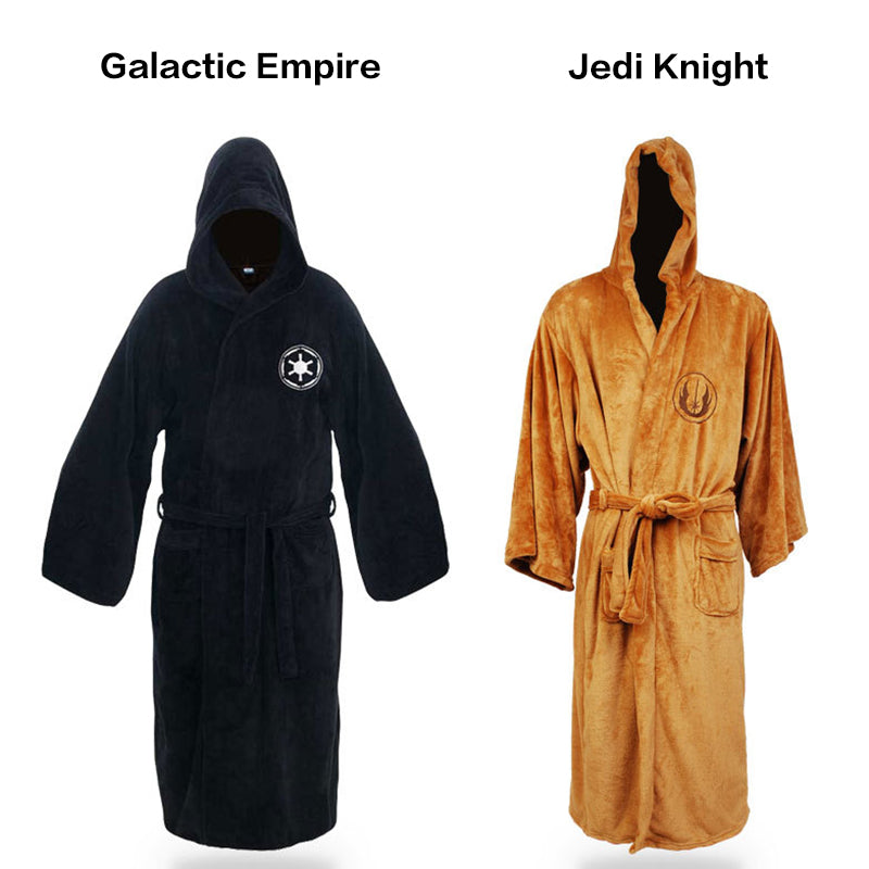 Flannel Robe Male With Hooded Star Wars Dressing Gown Jedi Empire Long Thick Men's Bathrobe Nightgowns Mens Bath Robe Winter