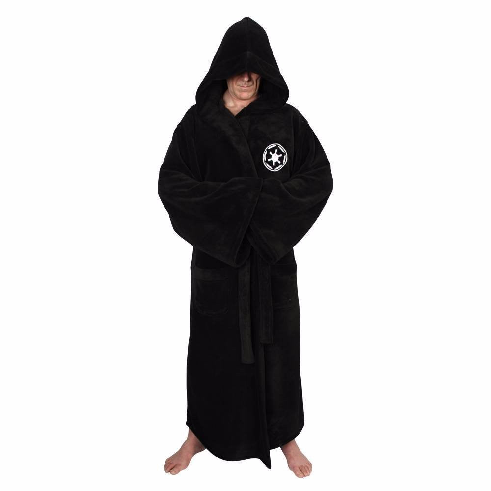 Flannel Robe with Hooded Male Star Wars Dressing Gown Jedi Empire Men's Bathrobe Winter Long Robe Mens Bath Robe